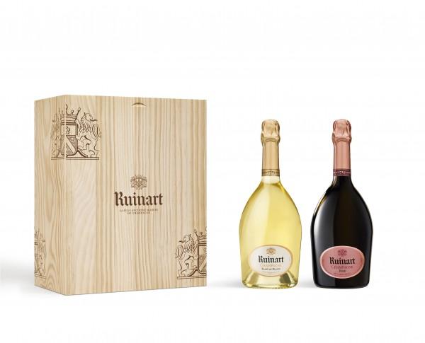 Holzkiste mit 2 Flaschen Ruinart Champagner